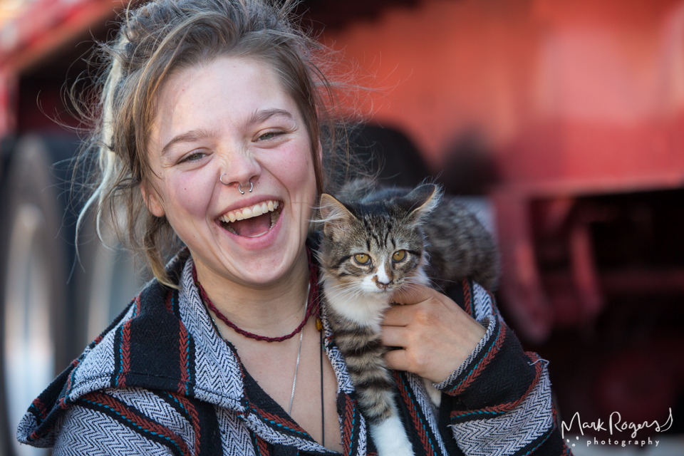young homeless woman with kitten