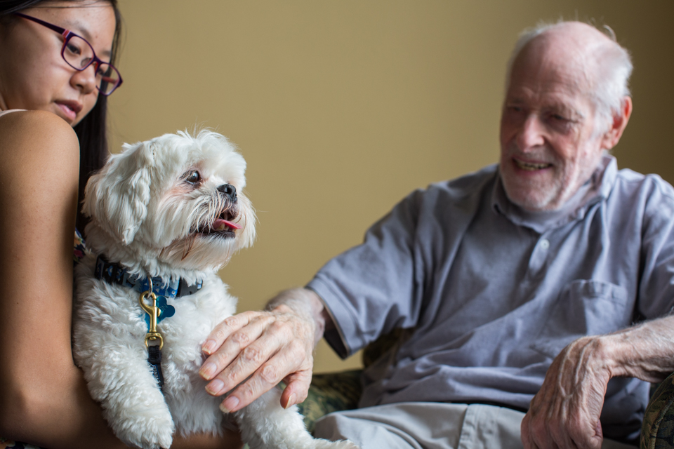 therapy dog with senior man